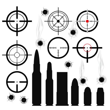gun holes: Crosshairs (gun sights), bullet cartridges and bullet holes