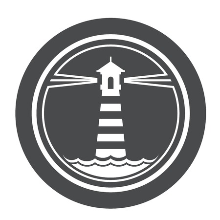 maritime: Maritime lighthouse icon with waves