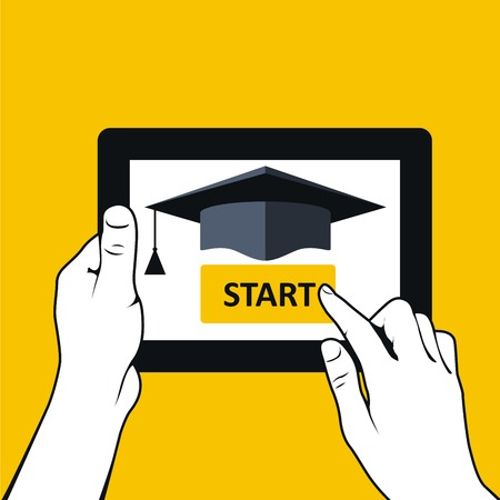 absentee: E-education and distance learning - hands with tablet pc Illustration
