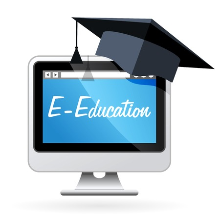 distance learning: Distance learning - computer and mortarboard, e-education concept