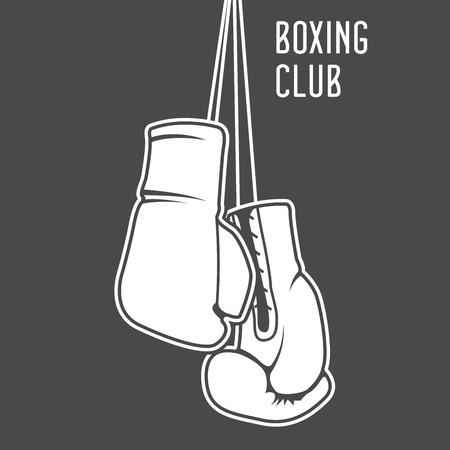 cartel club de boxeo con guantes de boxeo y la bandera