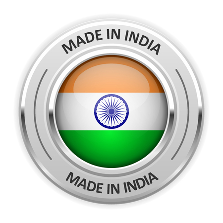 silver medal: Silver medal Made in India with flag Illustration