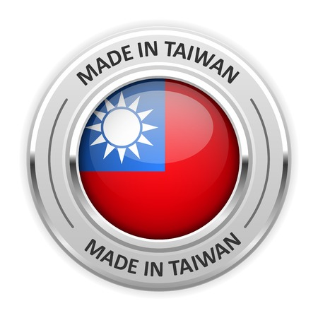 silver medal: Silver medal Made in Taiwan with flag