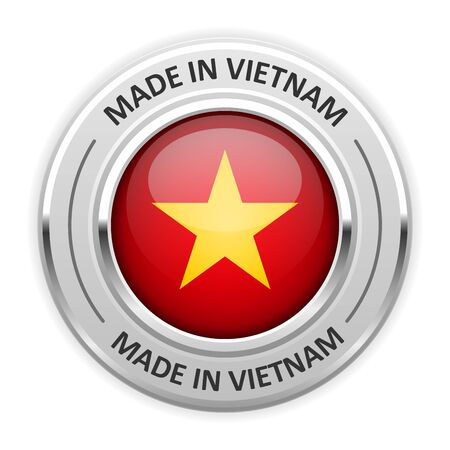 silver medal: Silver medal Made in Vietnam with flag