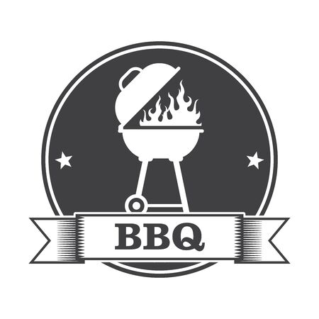 porch: Barbecue (bbq) and grill party stamp Illustration