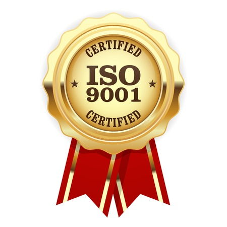 ISO 9001 certified - quality standard golden seal Иллюстрация