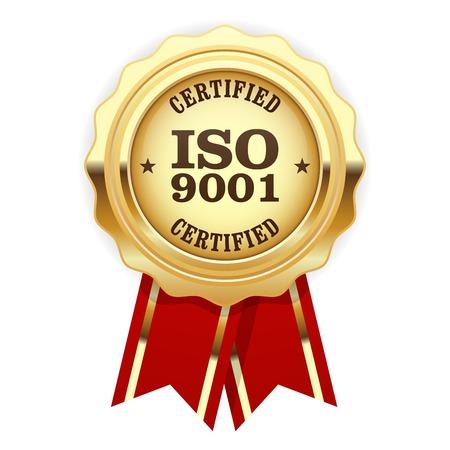 ISO 9001 certified - quality standard golden seal Stock Illustratie