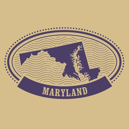 maryland: Maryland map silhouette - oval stamp