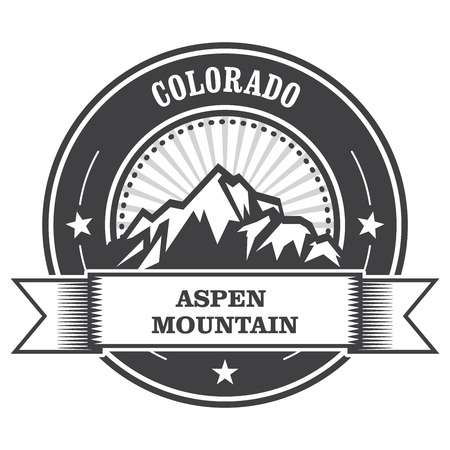 colorado mountains: Aspen, Colorado - mountain peak round stamp