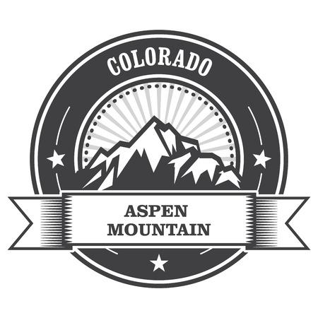 colorado rocky mountains: Aspen, Colorado - mountain peak round stamp
