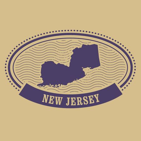 new jersey: New Jersey map silhouette - oval stamp
