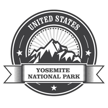 Yosemite National Park round stamp with mountains Illustration