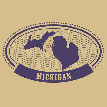 Michigan map silhouette - oval stamp Иллюстрация