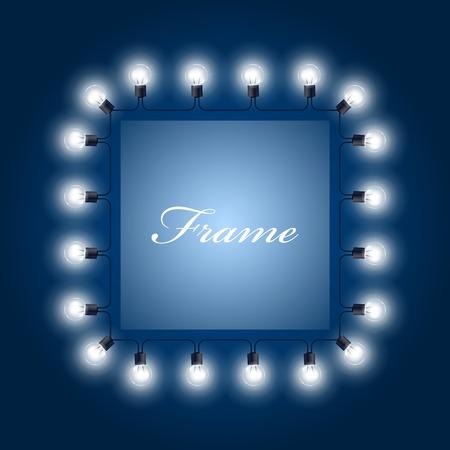 luminous: Frame of luminous light bulbs - theatre poster