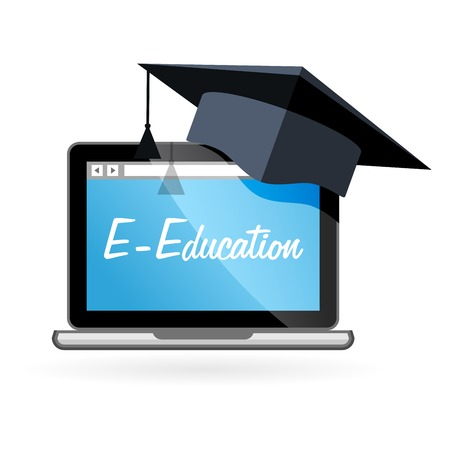 absentee: Distance learning - laptop and academic hat, e-education