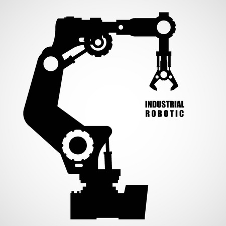factory automation: Industrial robotics - production line machinery silhouette