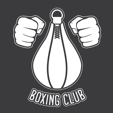 punching: Boxing club emblem - fists and punching bag Illustration