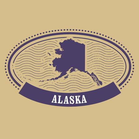 alaska map: Alaska map silhouette - oval stamp Illustration