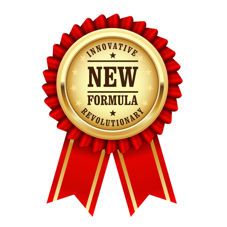 revolutionary: Golden award rosette with inscription revolutionary new innovative formula
