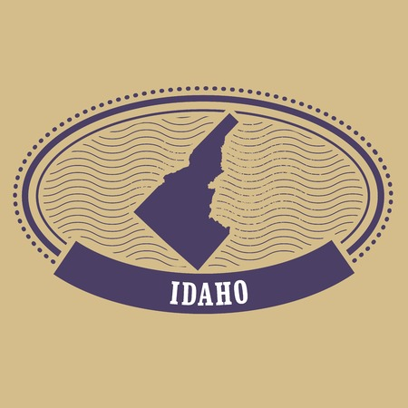 Idaho map silhouette - oval stamp of state