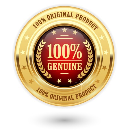 100 percent genuine product - golden insignia (medal) 向量圖像
