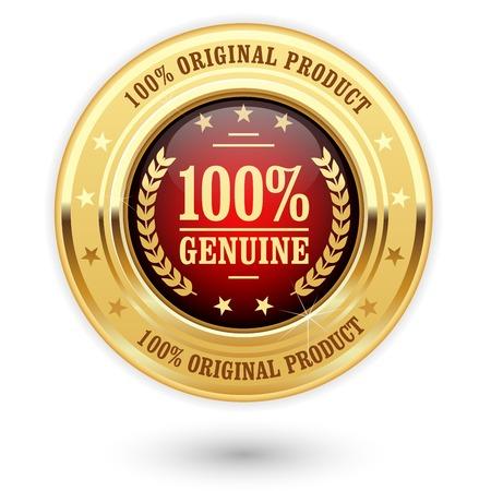 100 percent genuine product - golden insignia (medal) Stock Illustratie
