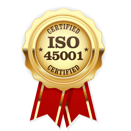 ISO 45001 standard certified rosette - occupational health and safety