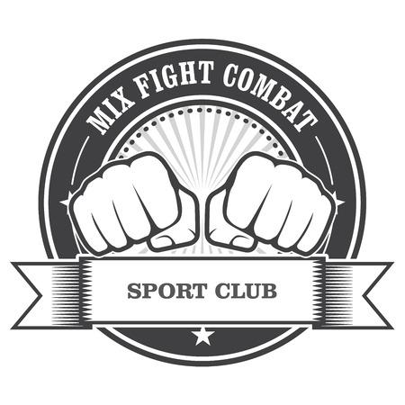 combat: Mix fight combat emblem - clenched fists