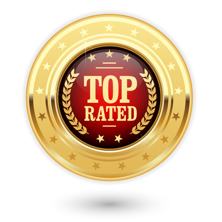 rated: Top rated medal - rating golden insignia