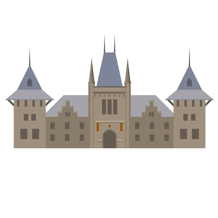 fastness: Medieval luxurious palace - castle with towers Illustration
