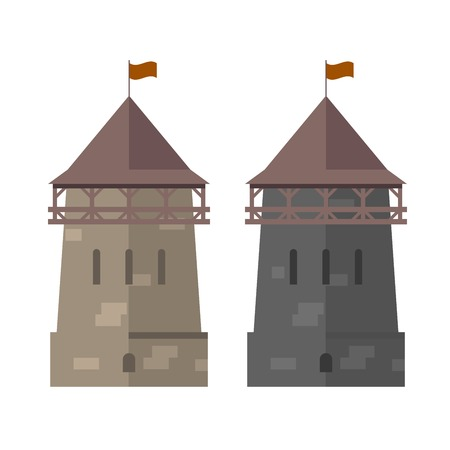 walled: Medieval tower of fortified wall - stronghold