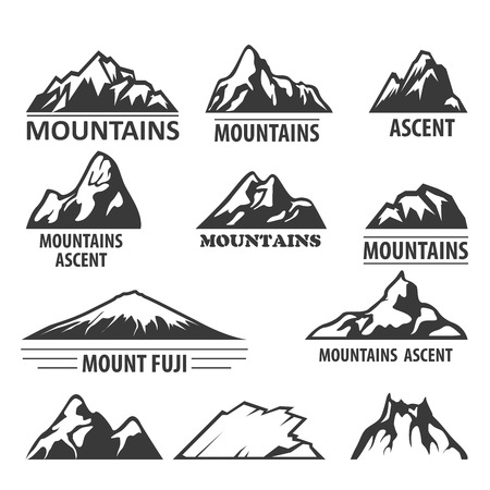 alpinism: Mountain peaks emblems - alpinism and ascent symbols Illustration