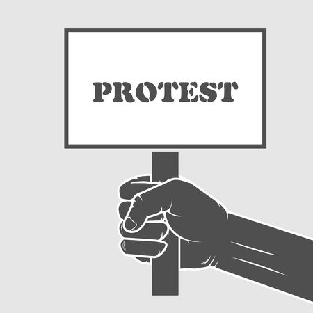 remonstrance: Hand holding protest poster - remonstrance and strike concept