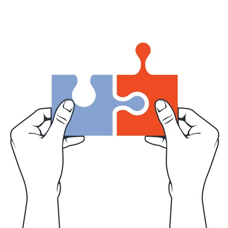 assemblage: Hands joining puzzle piece - association and merger concept