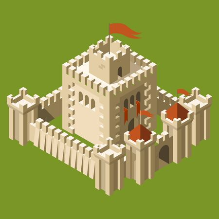 walled: Isometric medieval castle with fortified wall and towers