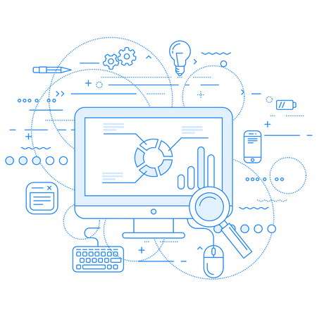 Web analytics and data flow abstract design Illustration