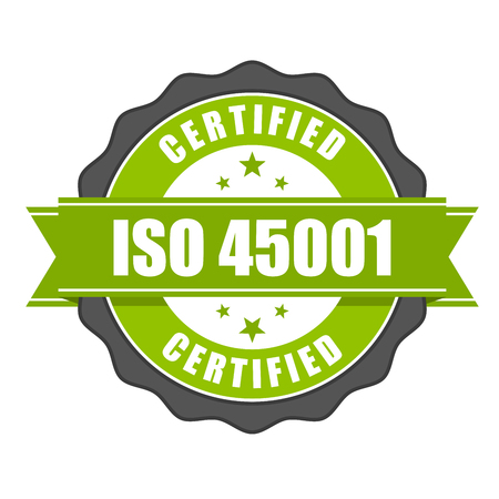 quality icon: ISO 45001 standard certificate badge - health and safety