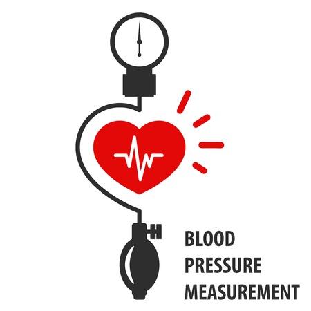 Blood pressure measurement icon - heart and sphygmomanometer