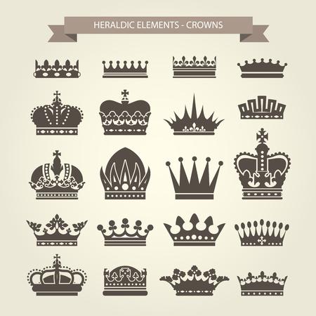 elite: Heraldic crowns set - monarchy coronet and elite symbols