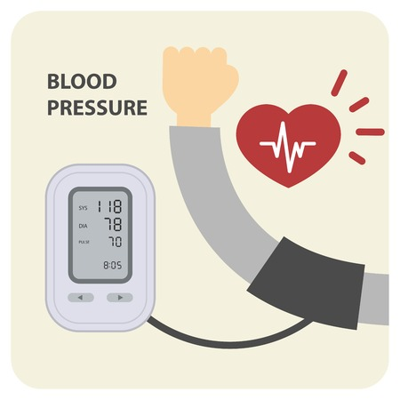 Digital electronic blood pressure monitor and hand Vector Illustration