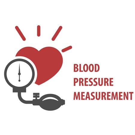 Blood pressure measurement icon - sphygmomanometer Illustration