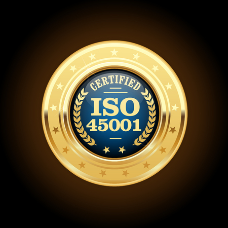 ISO 45001 standard medal - occupational health and safety Illustration