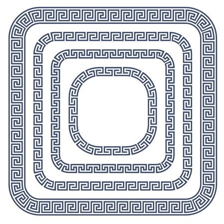 grecian: Greek ornament frame with rounded corners - meander style pattern border
