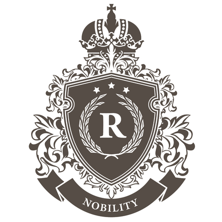 Escudo de armas imperial - escudo heráldico emblema real con corona y corona de laurel Ilustración de vector