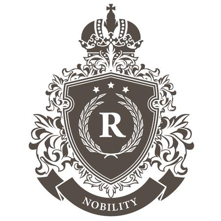 Imperiaal wapenschild - heraldisch koninklijk embleemschild met kroon en lauwerkrans Vector Illustratie