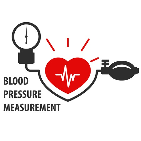 hypertensive: Blood pressure measurement icon - heart care Illustration