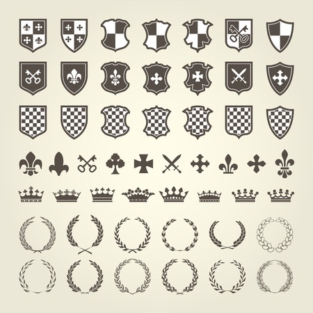 Kit of coat of arms for knight shields and royal emblems with laurel wreath