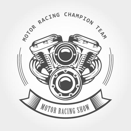 Motorcycle engine - chopper motor, bike show emblem Illustration