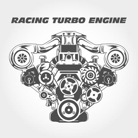 Moteur de course avec puissance de suralimentation - moteur turbo Vecteurs