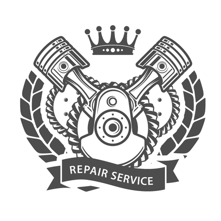 cam gear: Auto repair service emblem - symbolic engine